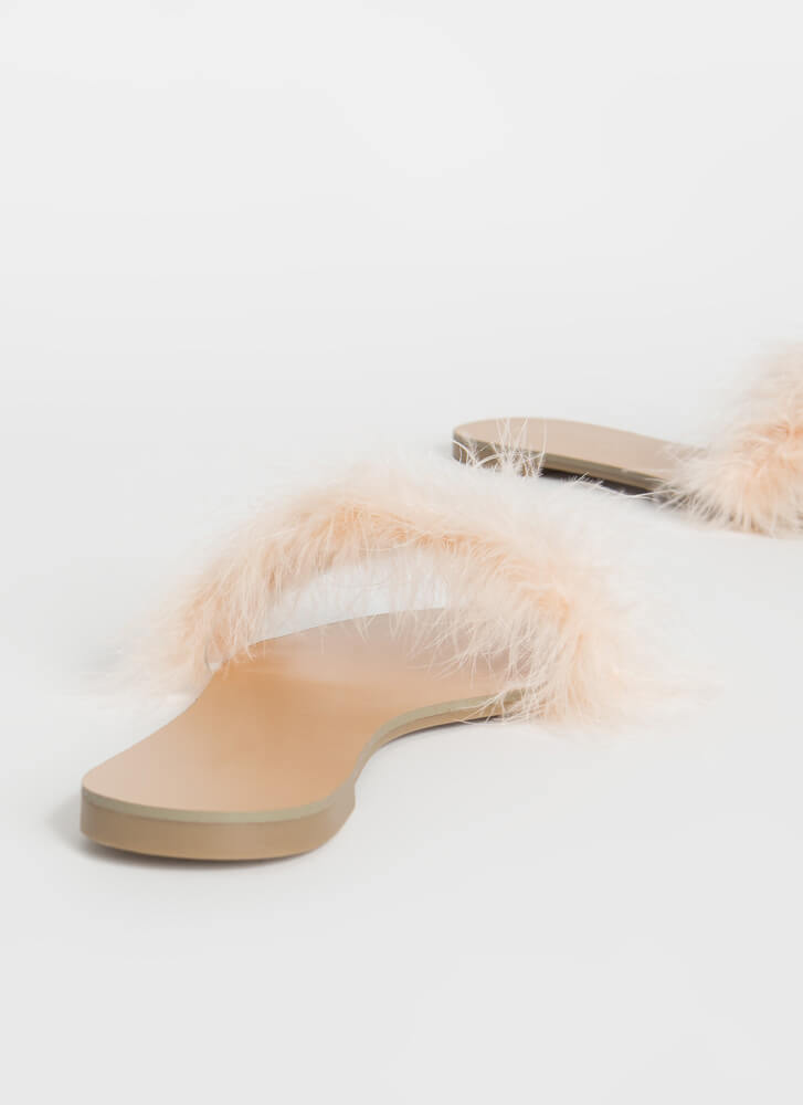 Fur Sure Fuzzy Feathery Slide Sandals NUDE