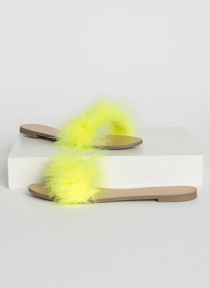 Fur Sure Fuzzy Feathery Slide Sandals NYELLOW