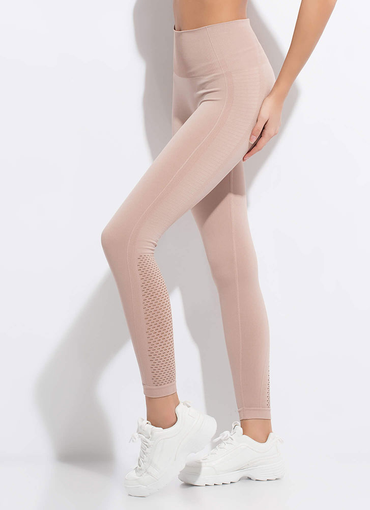 Holed Up At The Gym Mesh Panel Leggings ALMOND