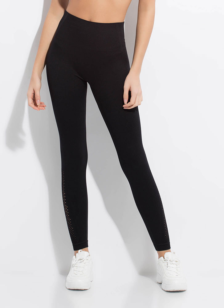 Holed Up At The Gym Mesh Panel Leggings BLACK