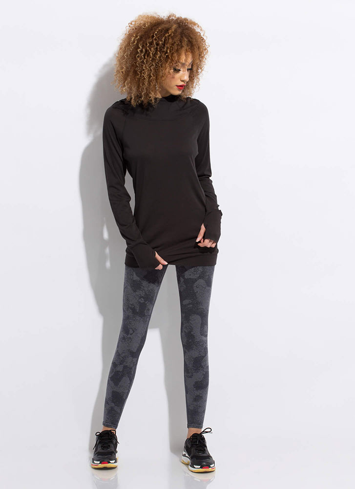 Two Thumbs Out Longline Hoodie Top BLACK