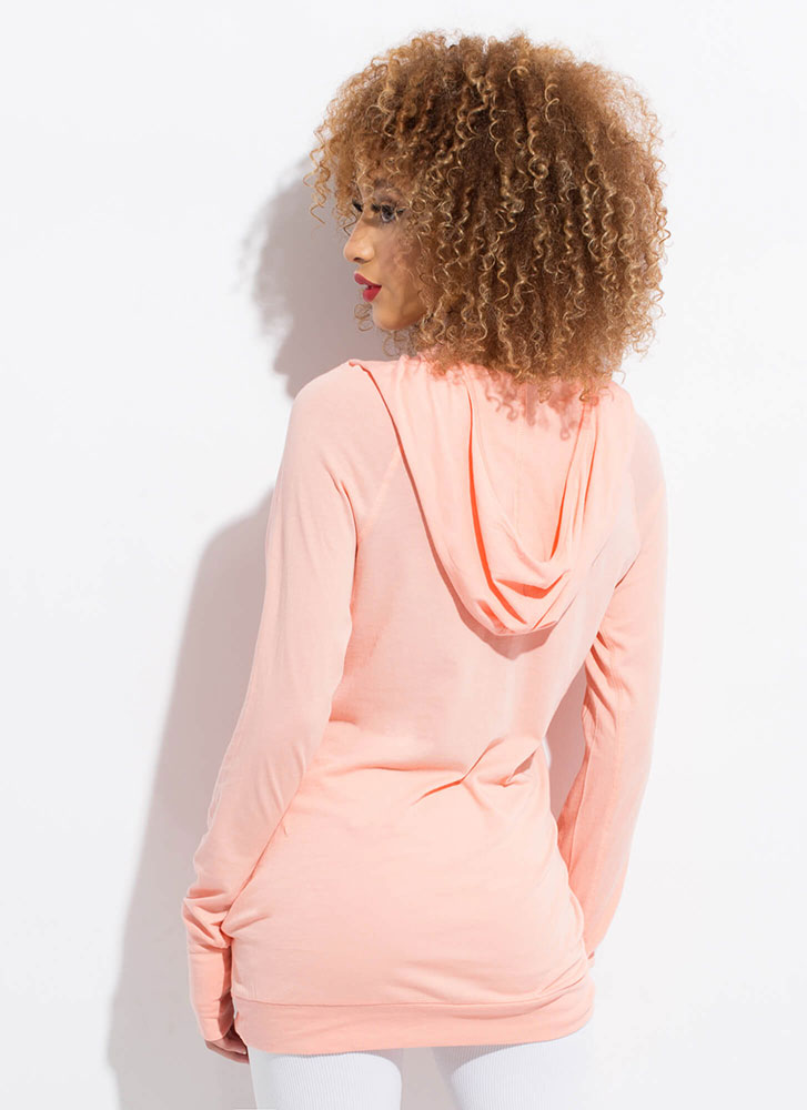Two Thumbs Out Longline Hoodie Top CORAL