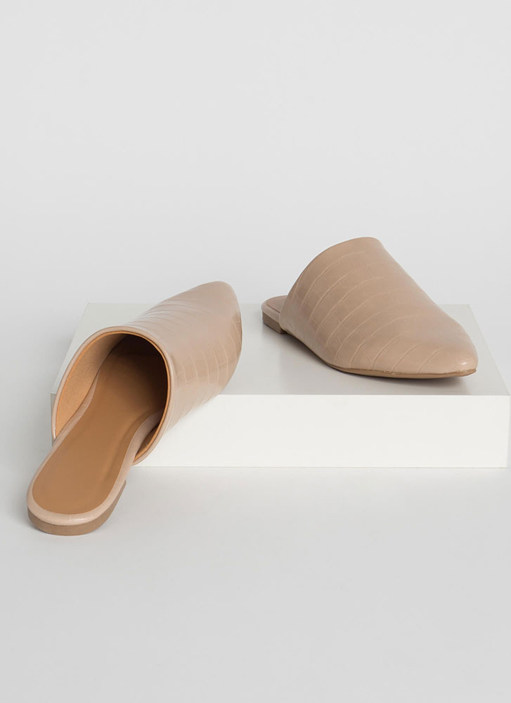 In A While Crocodile Pointy Mule Flats LTTAUPE