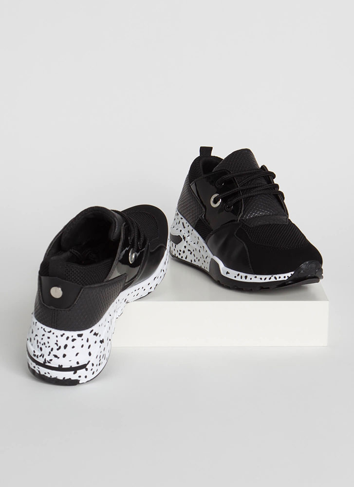 Run Off Spotted Mixed Media Sneakers BLACK