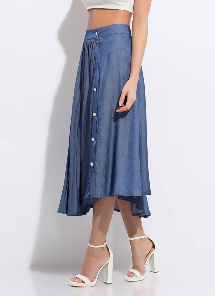 Chic Chambray Asymmetrical Pleated Skirt BLUE