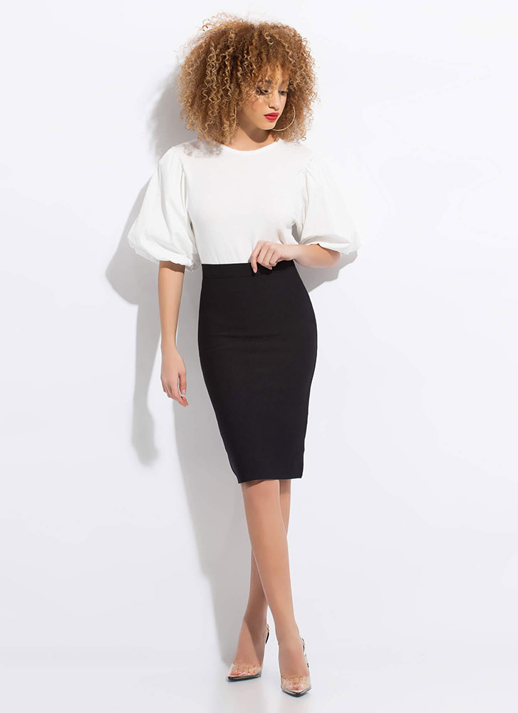 New Silhouette Puffy Sleeve Knit Top WHITE