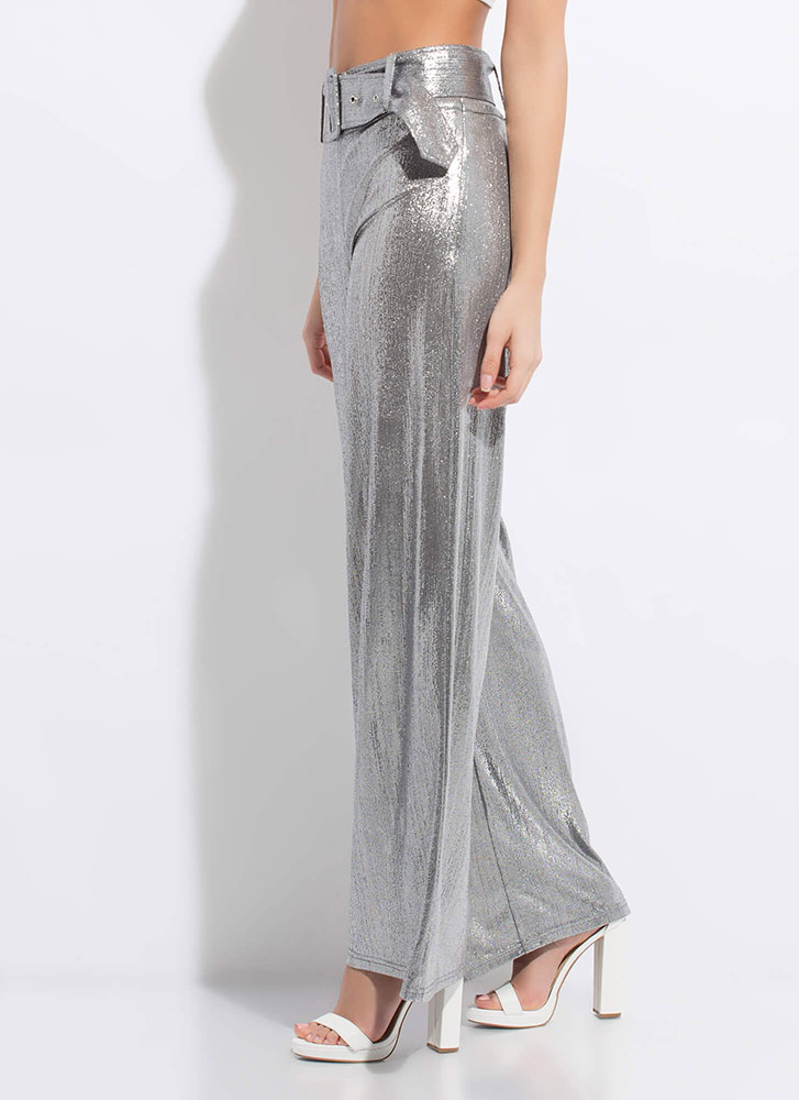 Disco Queen Shiny Belted Palazzo Pants SILVER