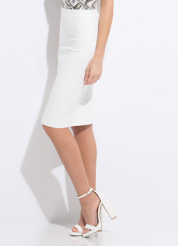 Perfect Fit Bandage Pencil Skirt WHITE