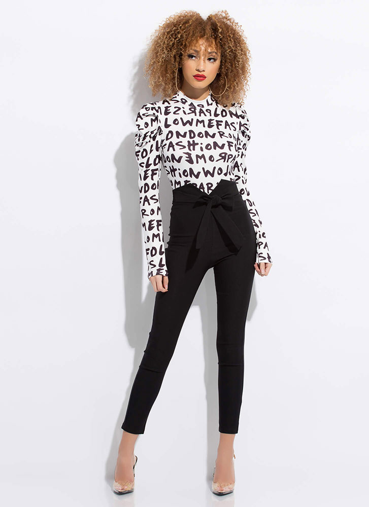 Tied With A Bow Notched Skinny Pants BLACK