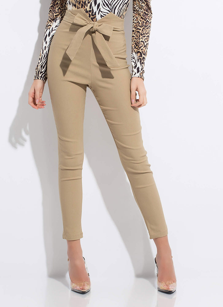 Tied With A Bow Notched Skinny Pants TAUPE
