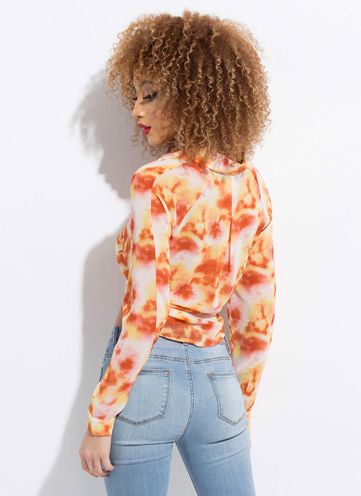 Tied And Tie-Dyed Cropped Blouse ORANGE