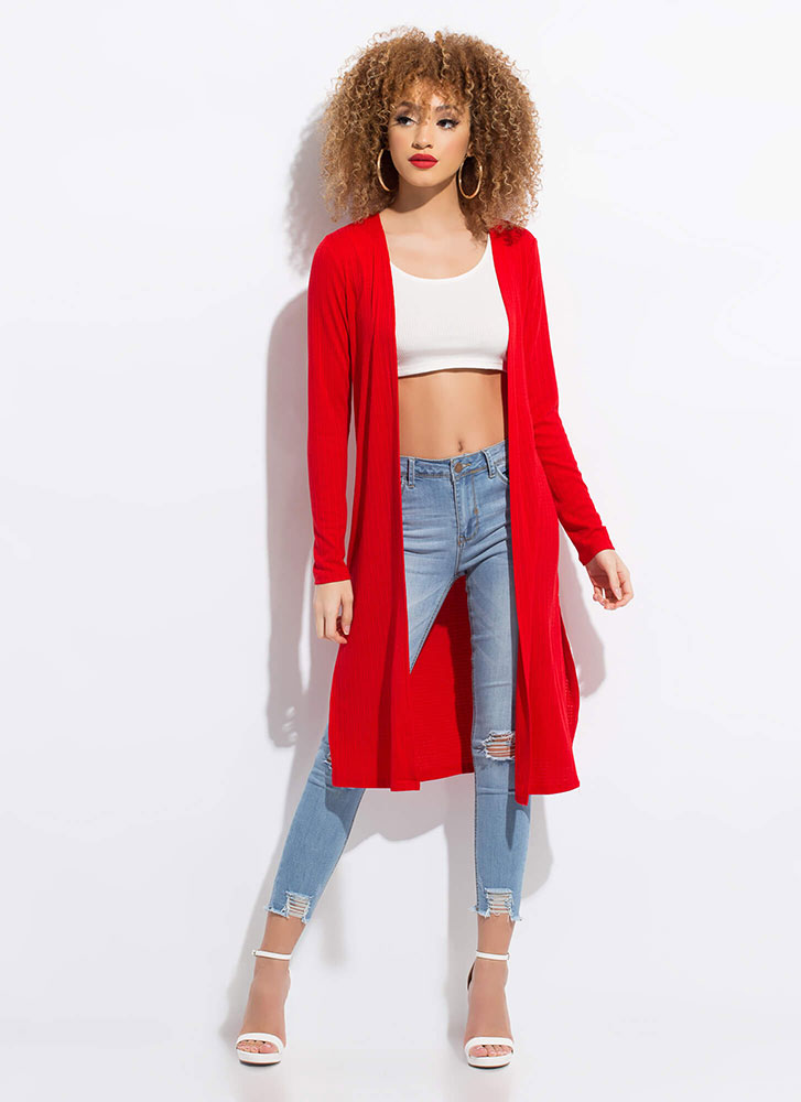 Lay It On Me Double Slit Knit Duster RED