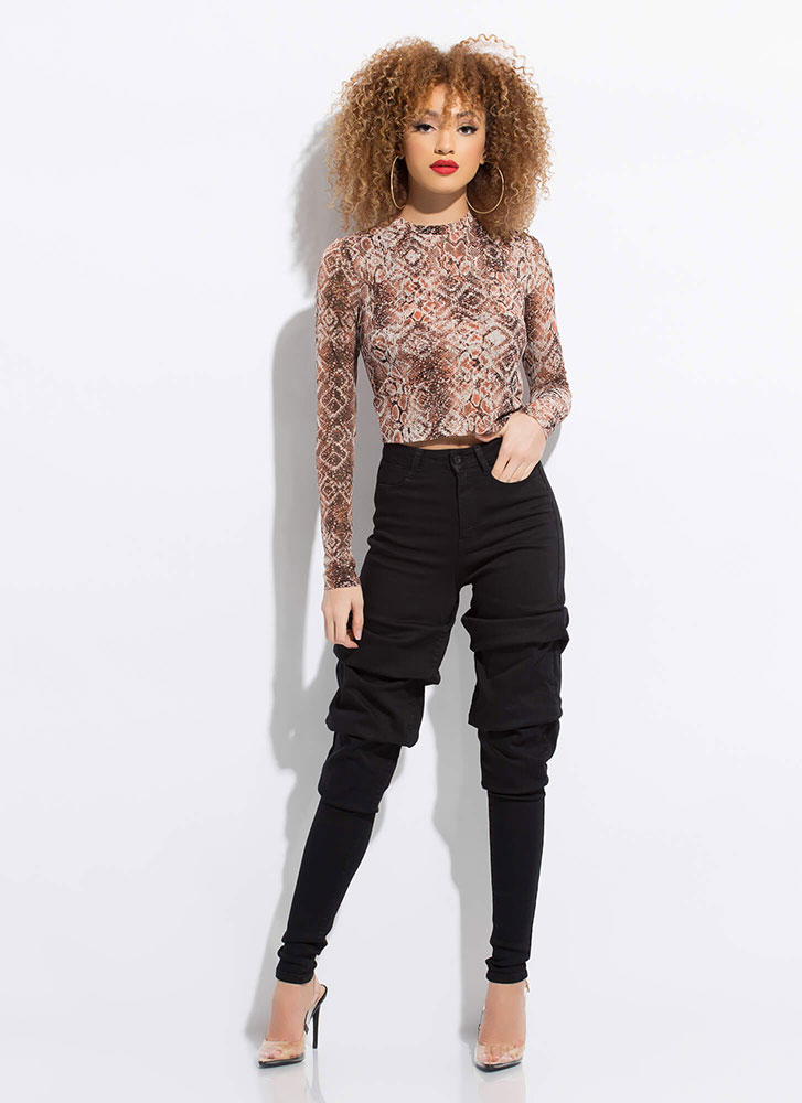 Hiss And Tell Snake Print Mesh Crop Top SNAKE