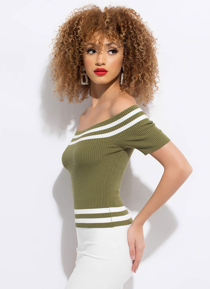 Next In Line Striped Off-Shoulder Top GREEN