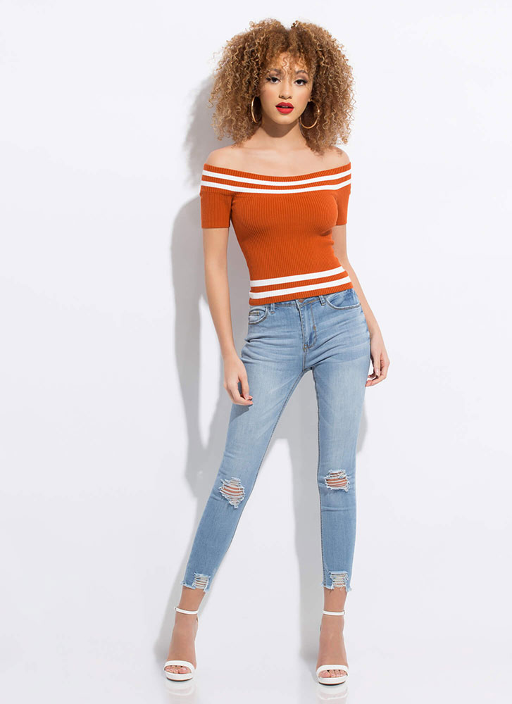 Next In Line Striped Off-Shoulder Top ORANGE