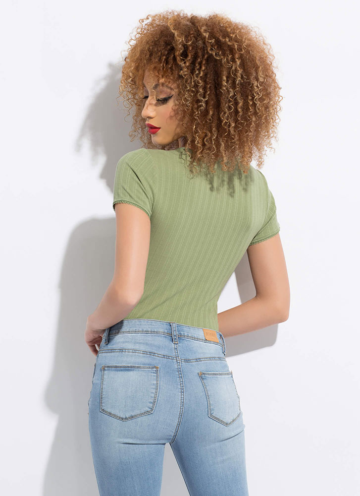 Simplify Your Life Basic Ribbed Top GREEN