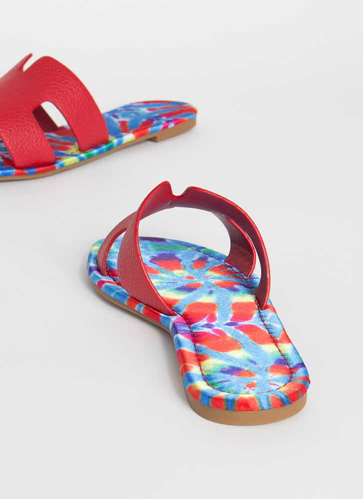 Tie-Dye Paradise Cut-Out Slide Sandals RED
