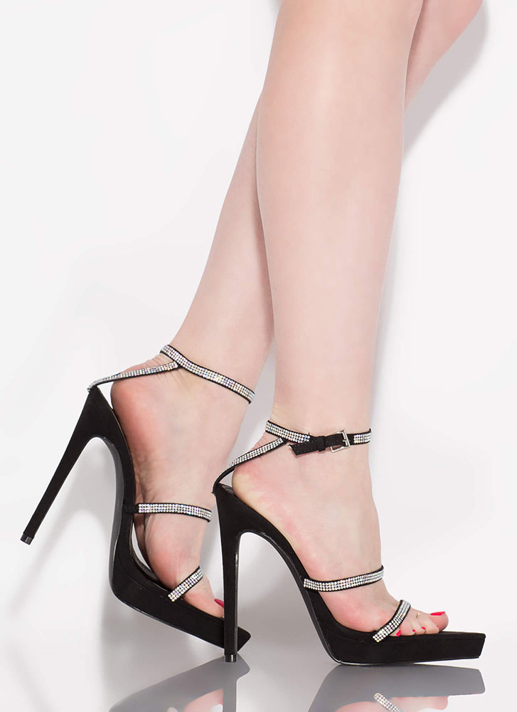 Strapped For Sparkle Jeweled Heels BLACK