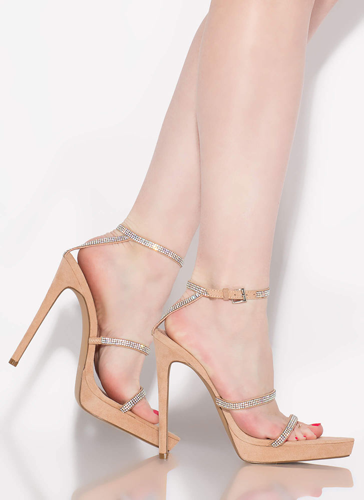 Strapped For Sparkle Jeweled Heels TAUPE