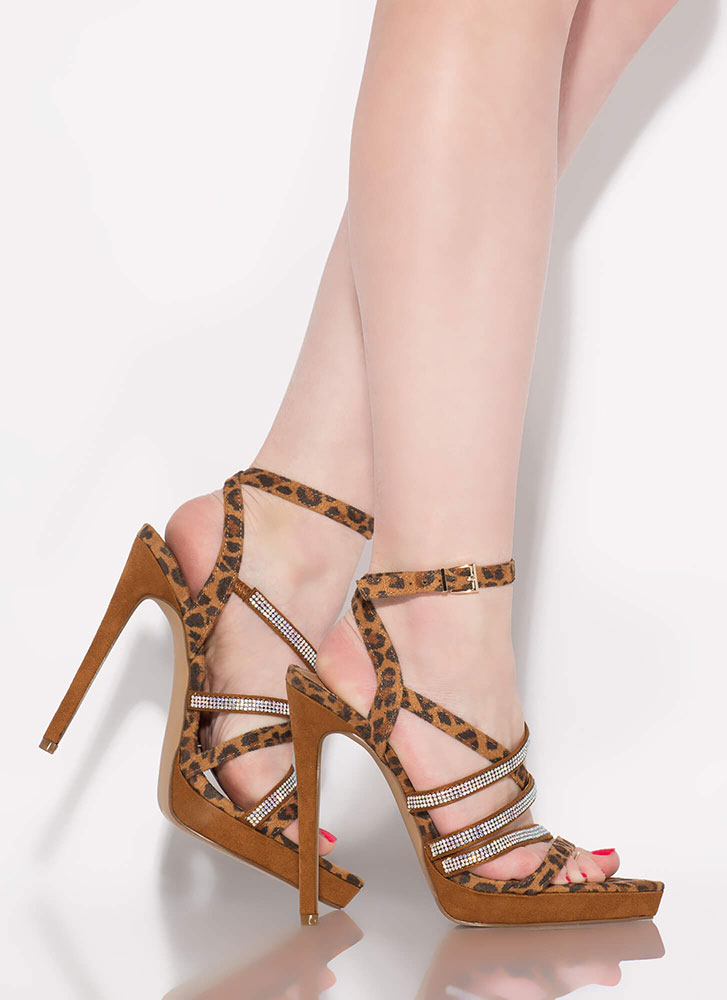 Caged Beauty Printed Jewel Strap Heels LEOPARD