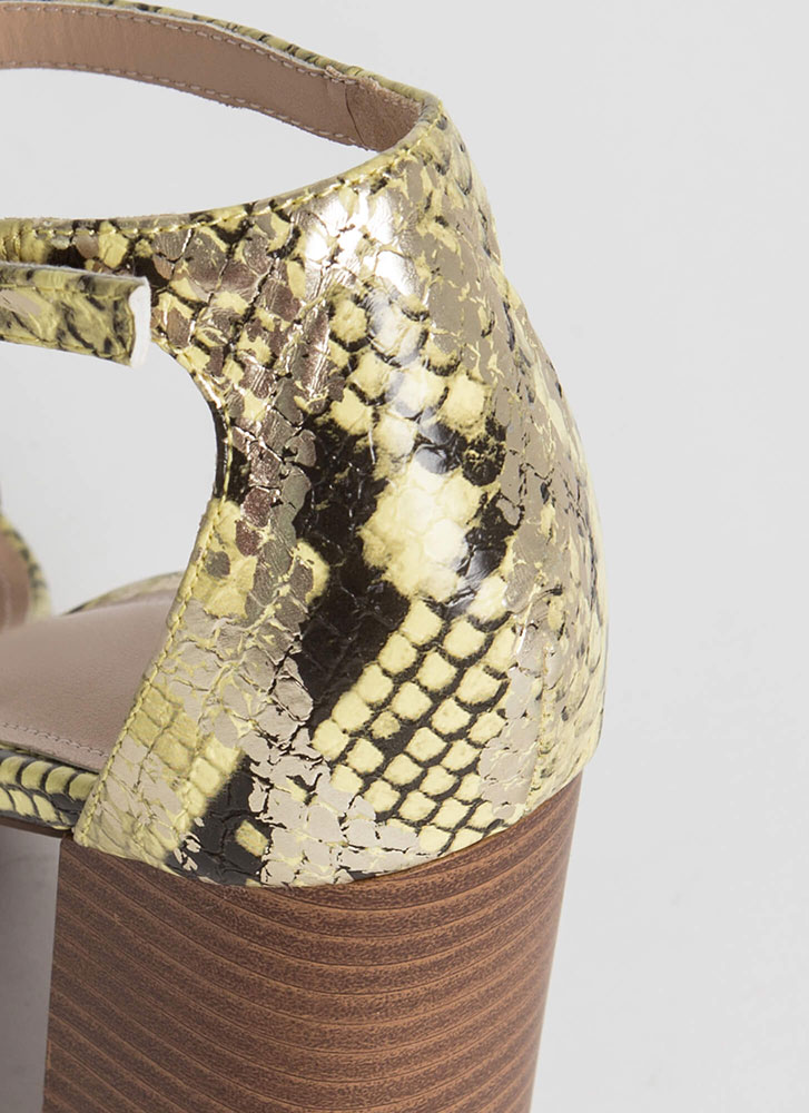 Reptile Crossing Chunky Scaled Heels SNAKE