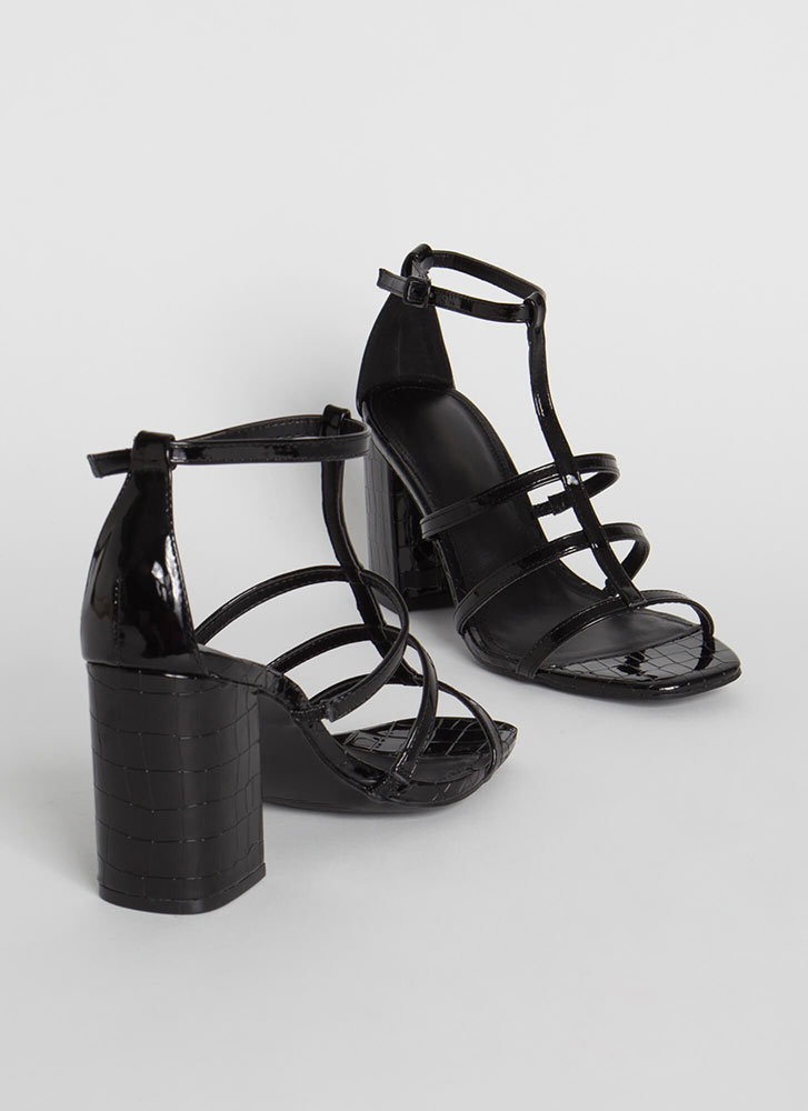 Crocodile Crossing Chunky Caged Heels BLACK