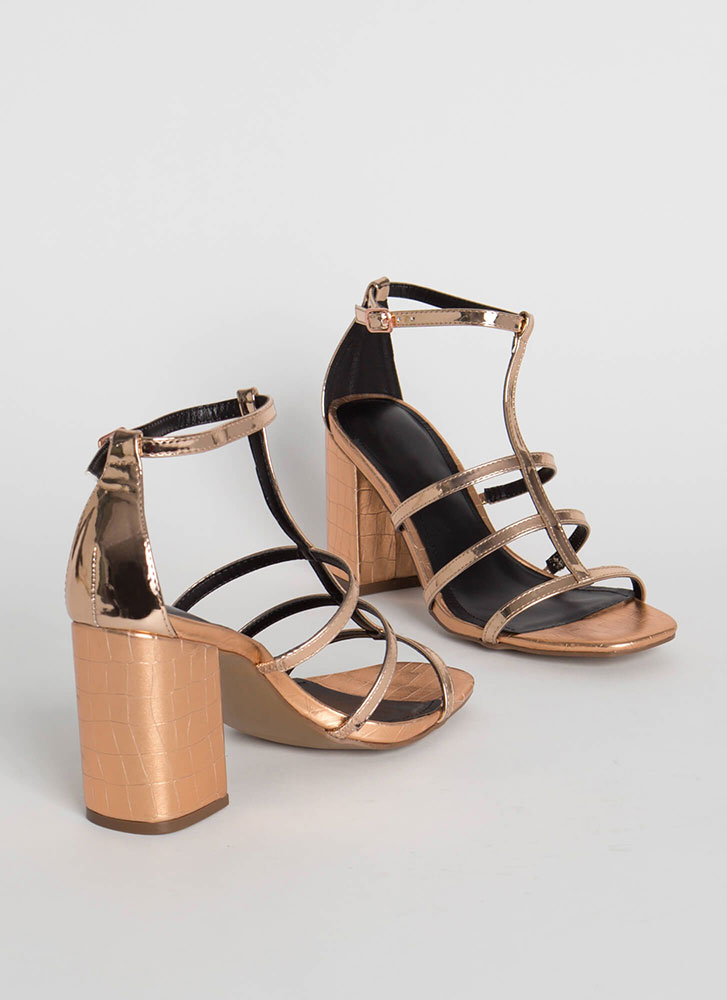 Crocodile Crossing Chunky Caged Heels ROSEGOLD
