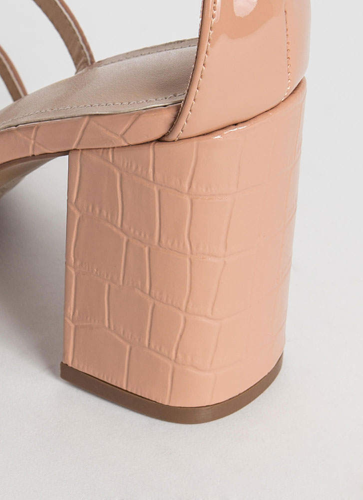 Crocodile Crossing Chunky Caged Heels TAUPE