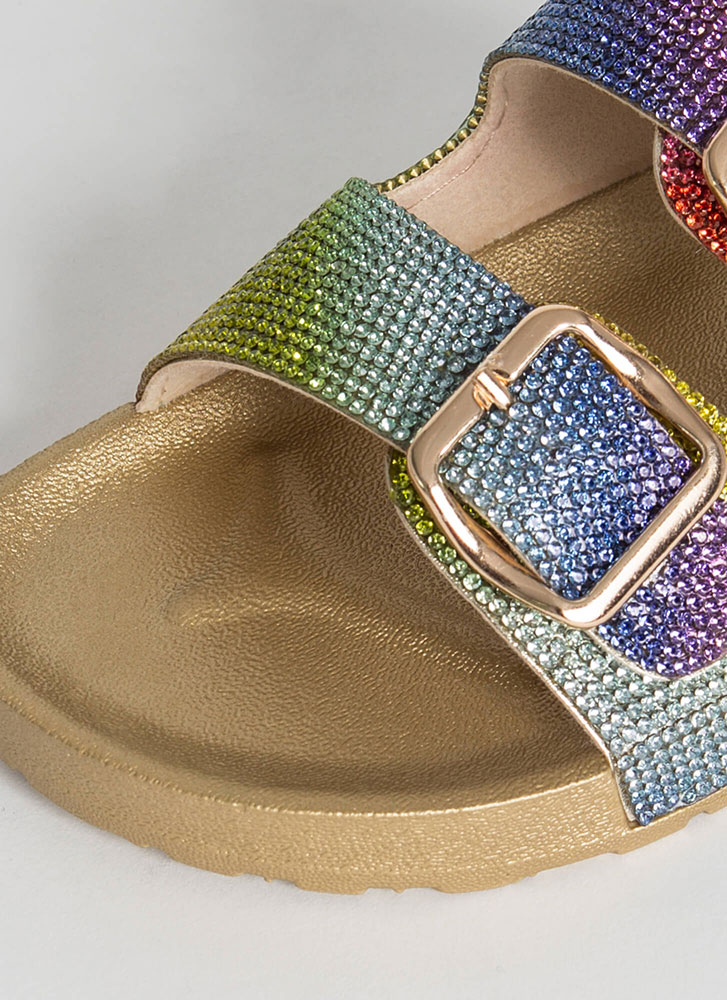 Rhinestone Sparkle Buckled Slide Sandals GOLD