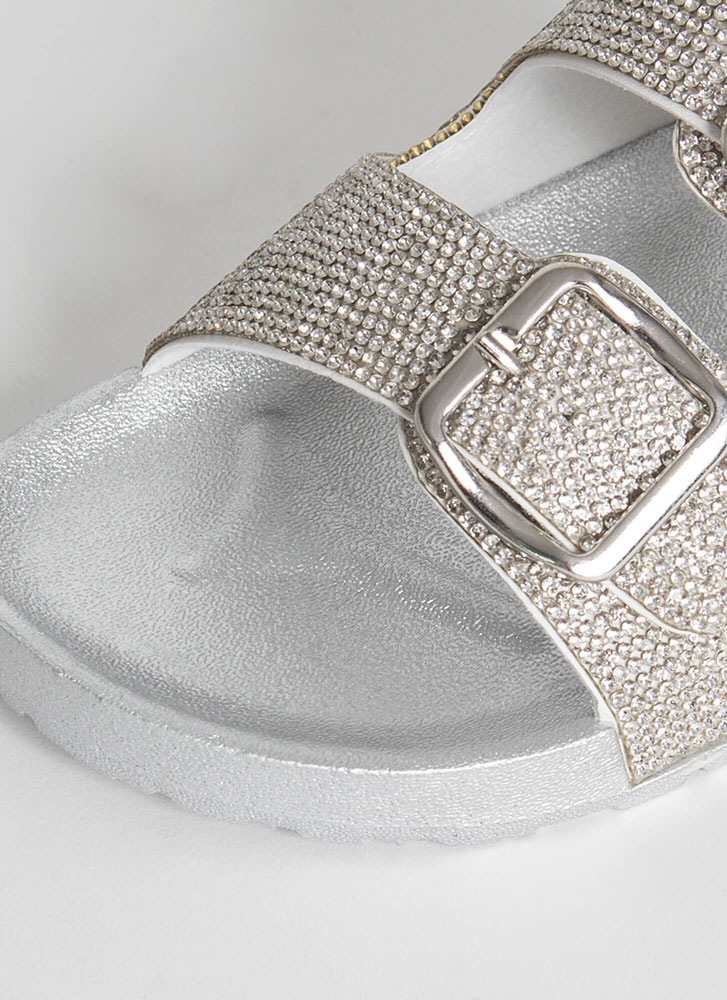 Rhinestone Sparkle Buckled Slide Sandals SILVER