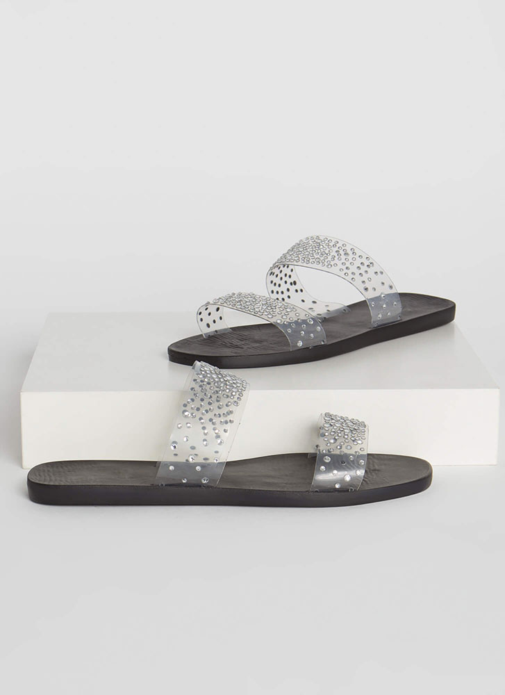 Sparkly Feet Clear Jeweled Slide Sandals BLACK