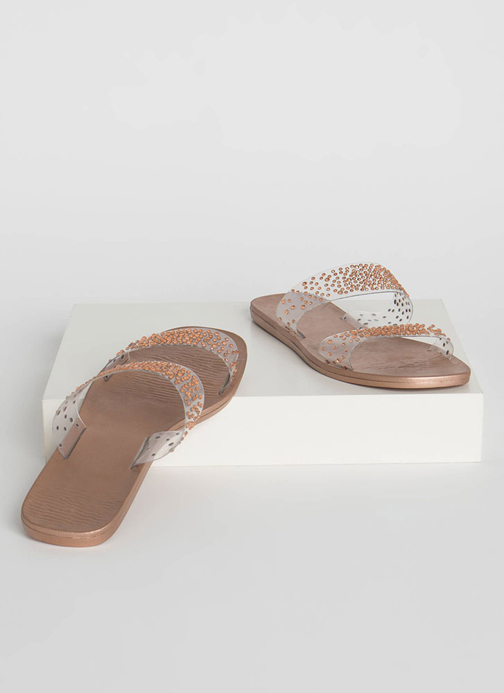 Sparkly Feet Clear Jeweled Slide Sandals ROSEGOLD