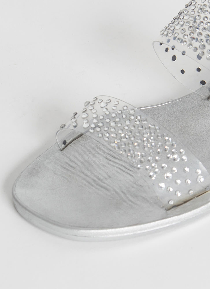 Sparkly Feet Clear Jeweled Slide Sandals SILVER