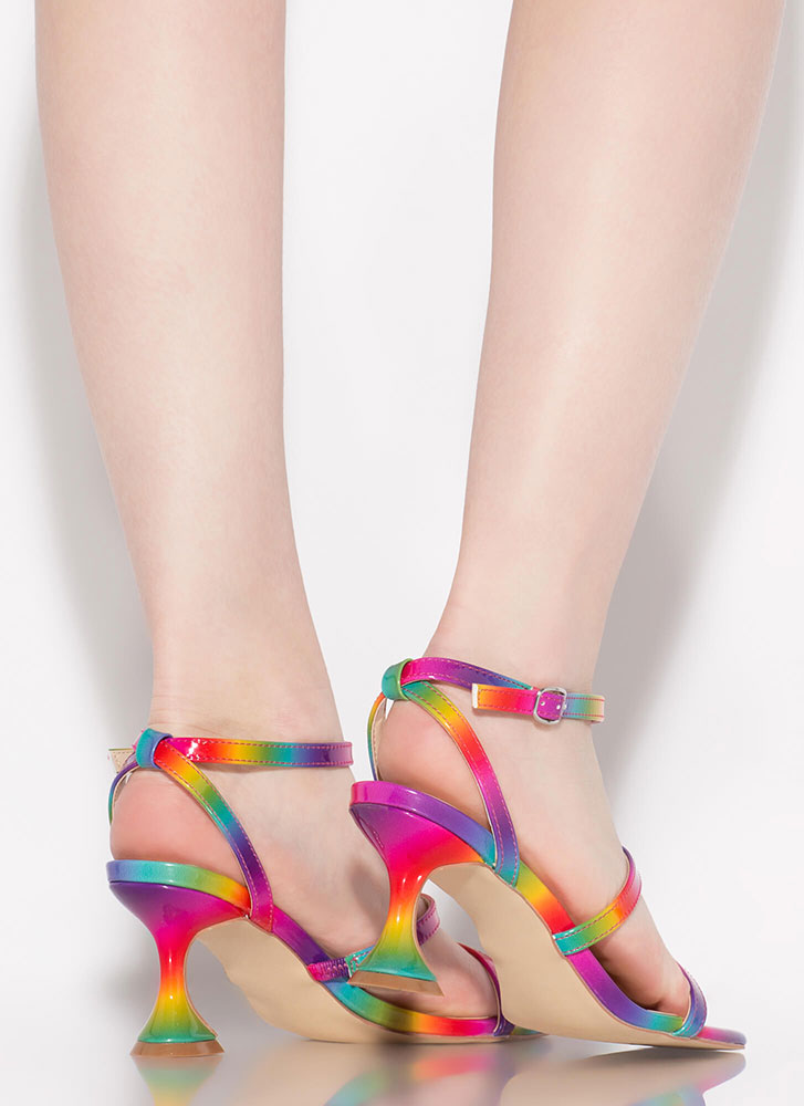 On A Pedestal Strappy Rainbow Heels RAINBOW