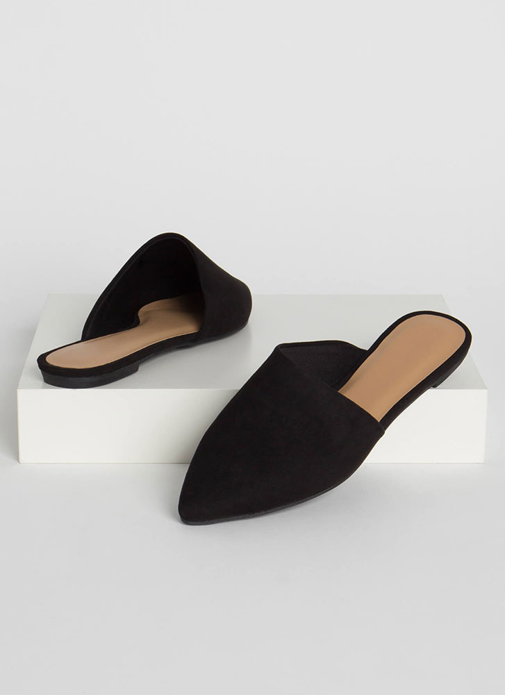 My Style Pointy Faux Suede Mule Flats BLACK