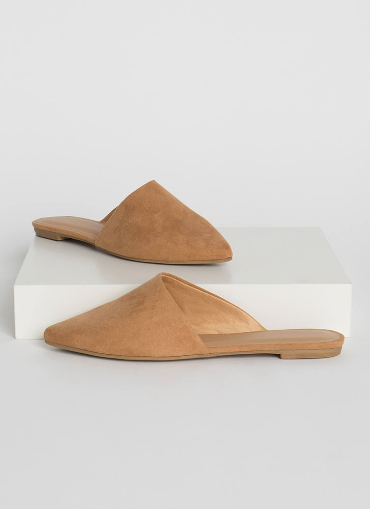 My Style Pointy Faux Suede Mule Flats TAN
