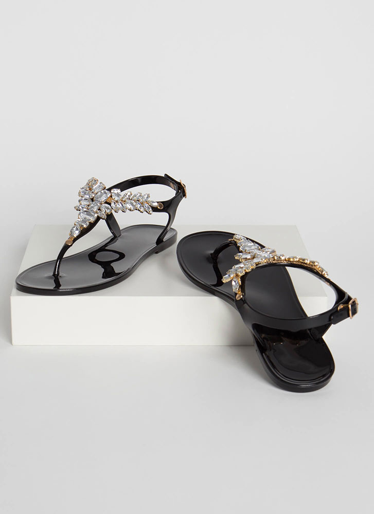 Jewel Appraisal Jelly Thong Sandals BLACK (Final Sale)
