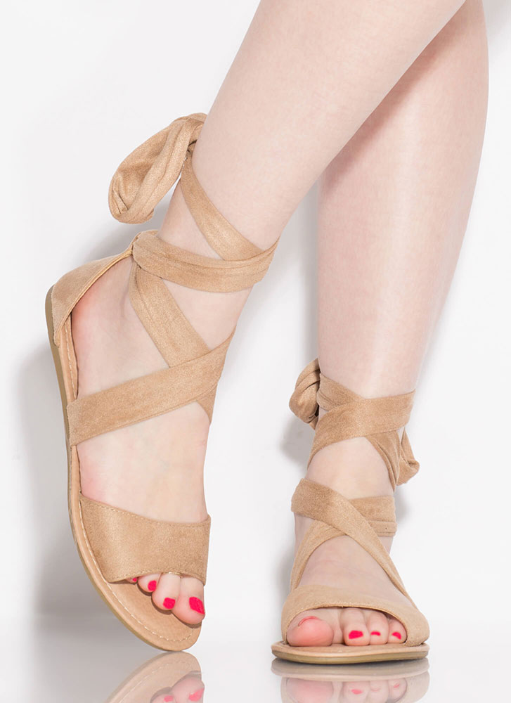 Give It A Tie Faux Suede Lace-Up Sandals NATURAL