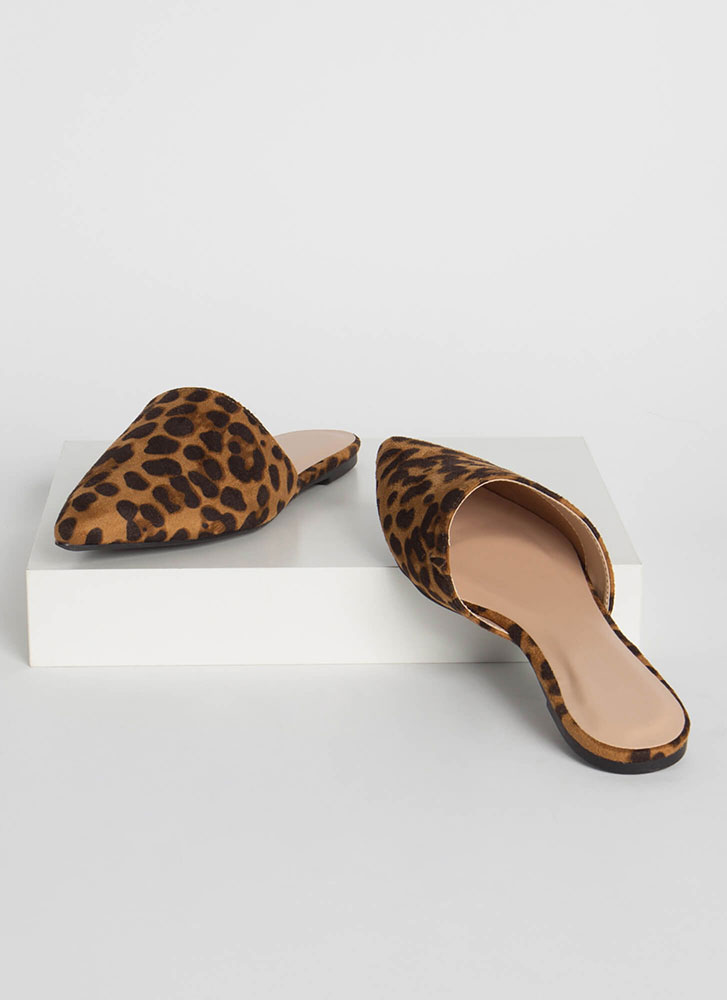 Get Wild Pointy Leopard Mule Flats ANIMAL