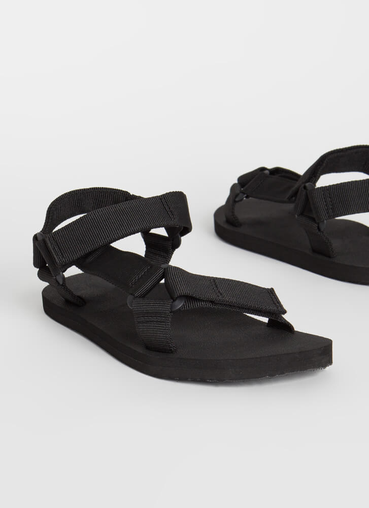 Harness My Energy Strappy Sporty Sandals BLACK