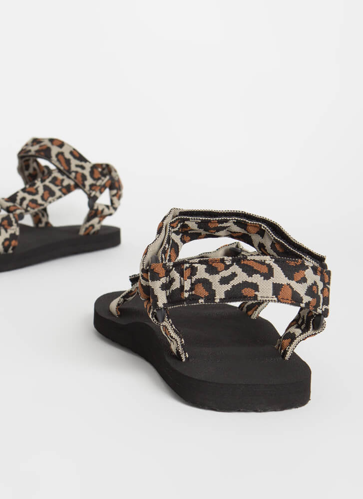 Harness My Energy Strappy Sporty Sandals LEOPARD