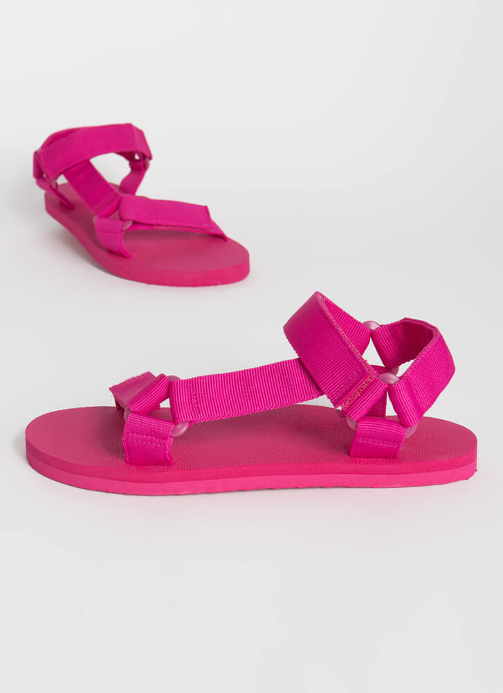 Harness My Energy Strappy Sporty Sandals NEONPINK