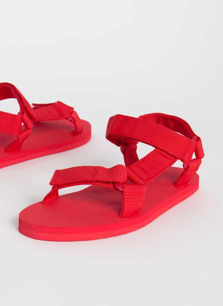 Harness My Energy Strappy Sporty Sandals RED
