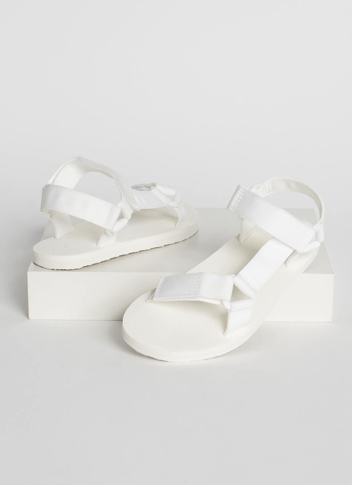 Harness My Energy Strappy Sporty Sandals WHITE
