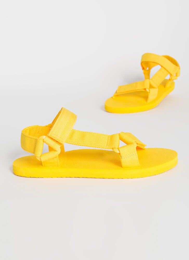 Harness My Energy Strappy Sporty Sandals YELLOW