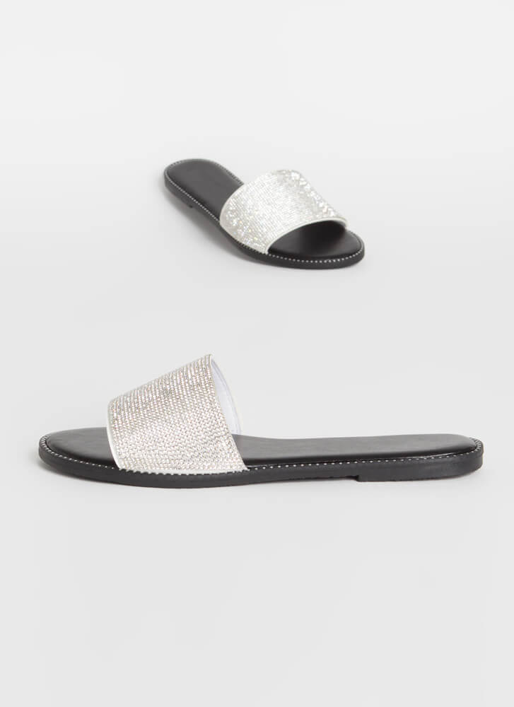 Sparkle Toes Rhinestone Slide Sandals WHITE