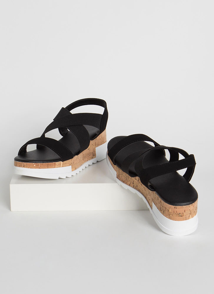 Band Together Cork Wedge Sandals BLACK