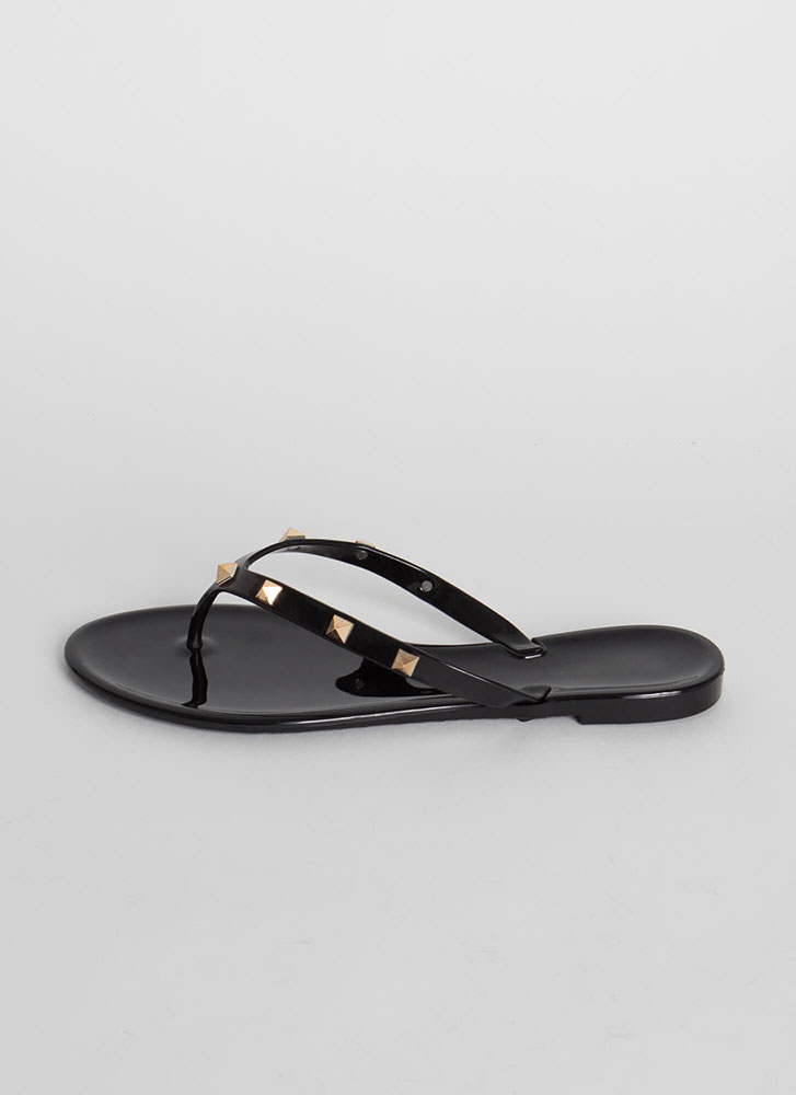 Edge Out Studded Jelly Thong Sandals BLACK