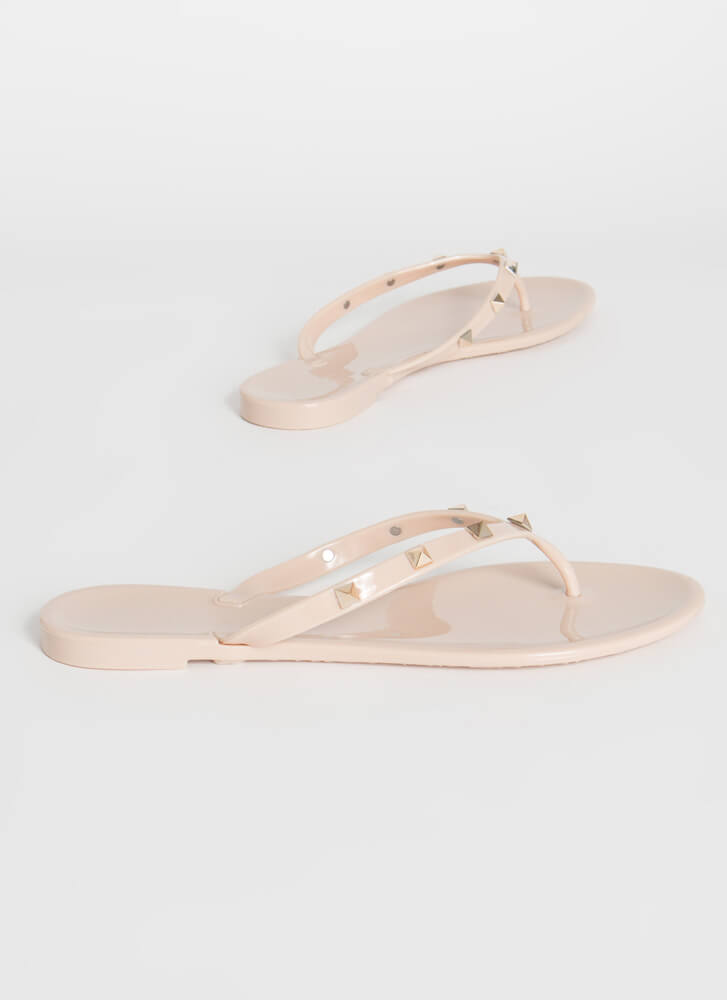 Edge Out Studded Jelly Thong Sandals NUDE