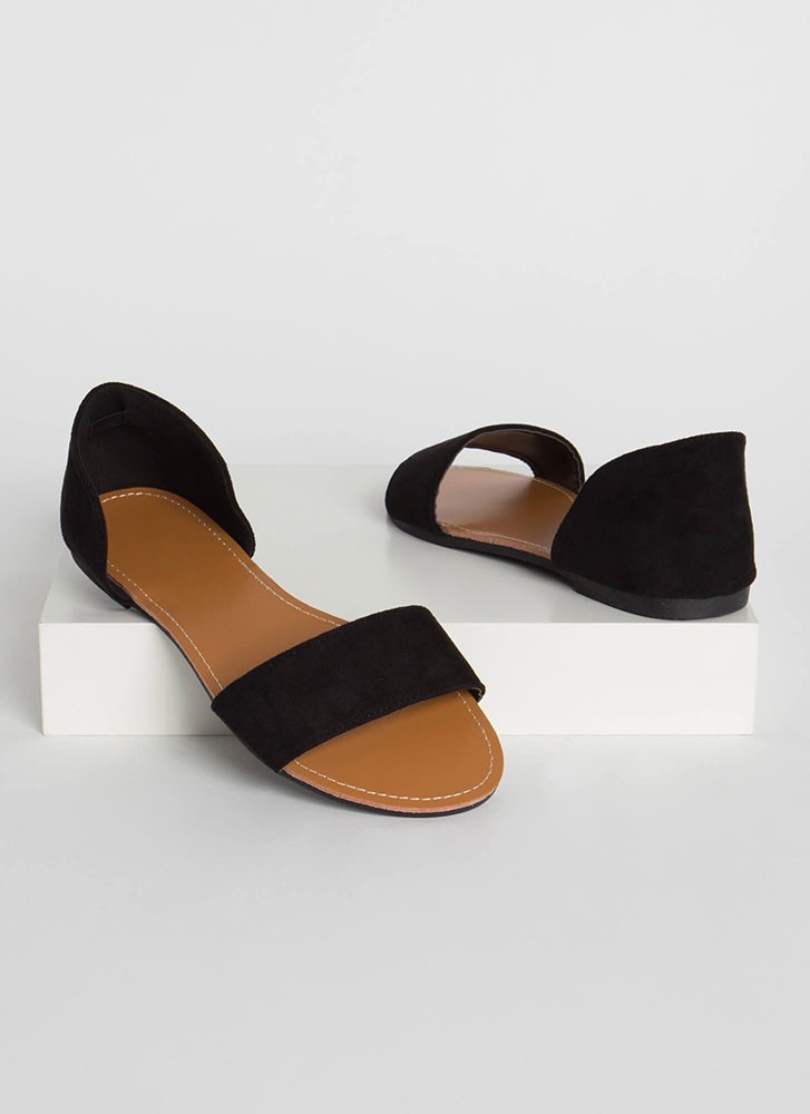 Simply Chic Faux Suede Sandals BLACK